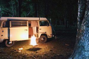 ワーゲンバス 焚き火